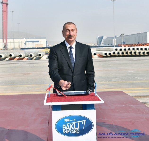 """Prezident """"Kəlbəcər"""" tankerinin istismara verilməsi mərasimində"""